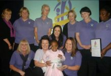 CHP CEO's daughter, with a team of nurses, after winningCroydon's Child of Courage award 8 years ago!