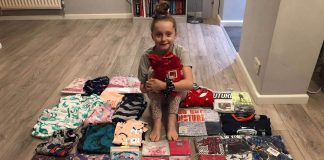 emily our supporter with PJs she has collected for CHP