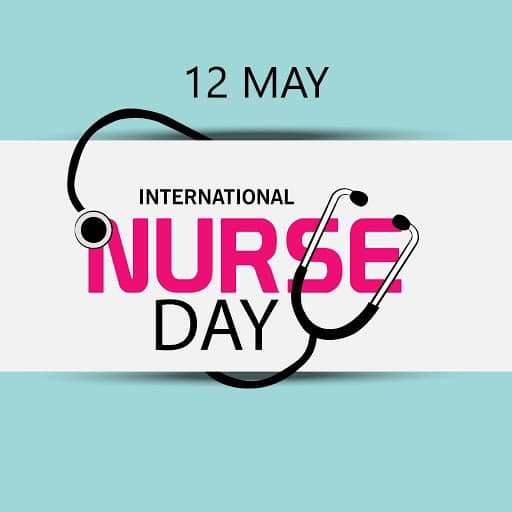 international nurse day in text with a stethoscope over the text.