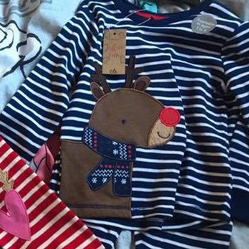 set of pyjamas with a reindeer on front.
