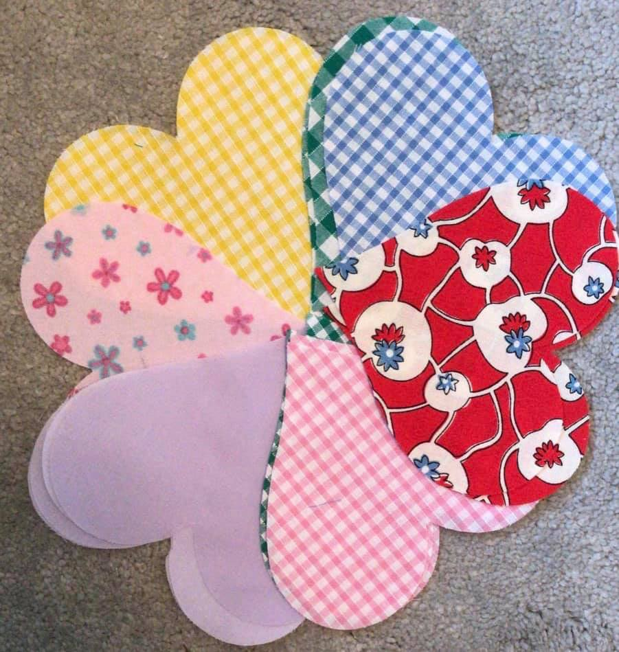 various material hearts made from pattern material.