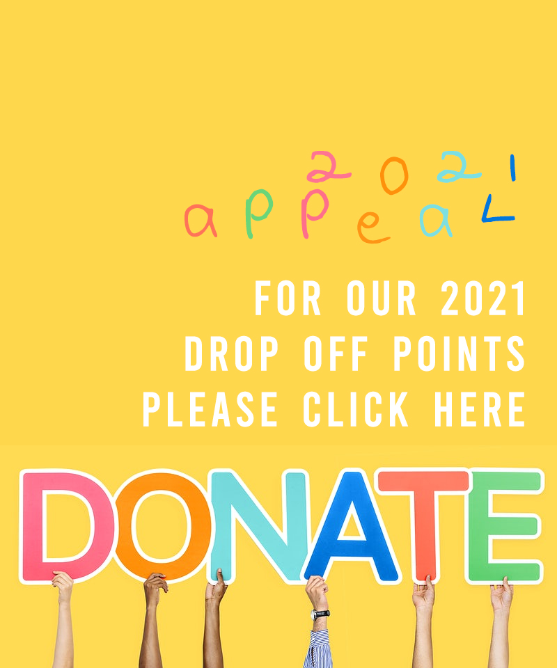 image with the word 'donate' in bright colours, which directs the user to the donation page with drop off point details.