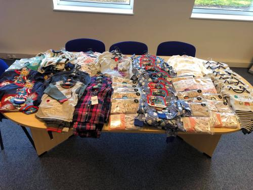 Pyjama collection on table