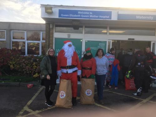 So after we had dropped off in Ashford we made our way to QEQM in Margate , complete with Santa , his Elf , our lots of little helpers and the OHANA bikers , who incidentally escorted us both like royalty . There we met a beautiful little girl called Aaliyah who just could not believe Santa had come to see her ❤️ . Mum told us she is in hospital for a while and she was just taken with all we were doing , but she couldn't keep her eyes off Santa . This just makes it all worth what we do and how your donations make such a difference.